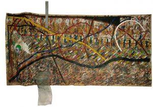 Uniarticulado, 2010 Vergalhão, esponja de aço, folha de ouro, arame de cobre, barbante, etc sobre papel (70 x 90 cm)