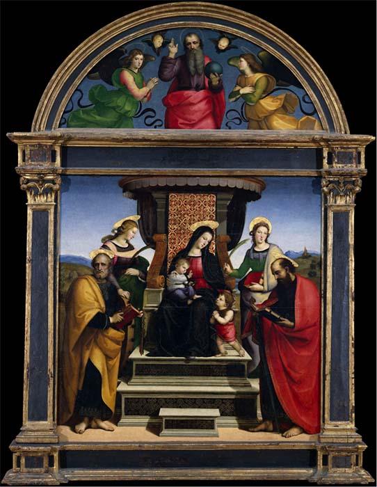 RAFAEL de Sanzio (1483-1520) Madona e o Menino Entronados com Santos, ca. 1504. Óleo e ouro sobre madeira. 169.5x168.9. Luneta, 171,5x64,8. The Metropolitan Museum of Art, Nova York, EUA.