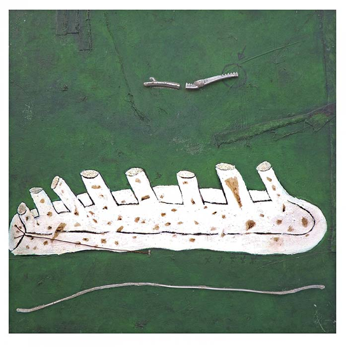 _octopédis_, 2010 Sangue, acrílica, alumínio, cobre, etc s_ tela em painel (70 x 70 cm)