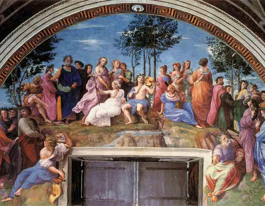 RAFAEL Sanzio (1483-1520) Parnaso – A Poesia e Apolo, 1509/10. Fresco, 6,70 metros de altura com a base. Stanza della Segnatura, Palazzi Pontifici, Vaticano, Itália.
