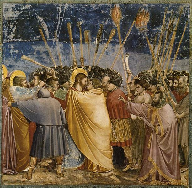 giotto; the-arrest-of-christ-kiss-of-judas