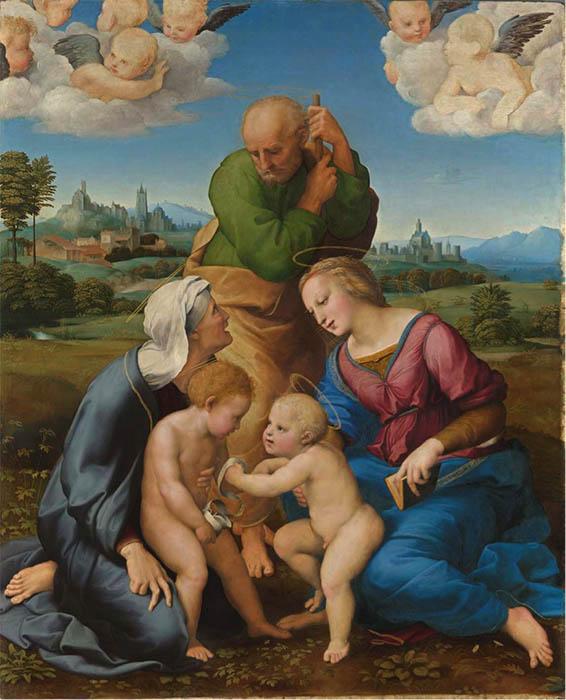RAFAEL de Sanzio (1483-1520) A Sagrada família da casa de Canigiani, 1505/1506. Pintura sobre madeira. 131x107.Bayerische Staatsgemäldesammlungen. Alte Pinakothek, Munique, Alemanha.