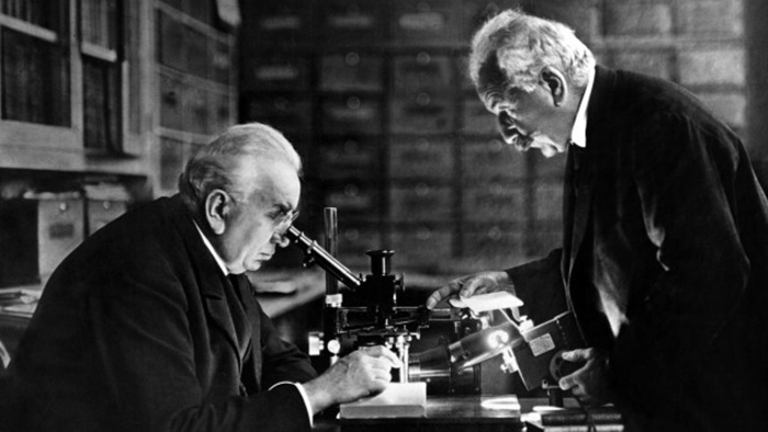 Auguste and Louis Lumiere in their laboratory in Lyon, France (c.1892)