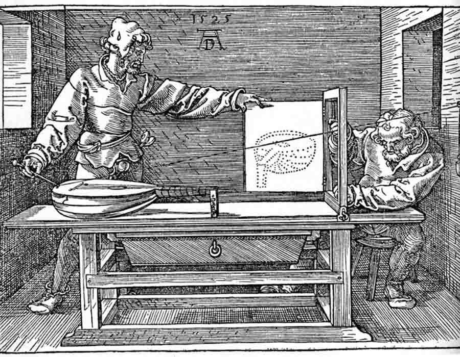 Albrecht DÜRER (1471-1528) DETALHE: O artista desenhando um alaúde, 1525.