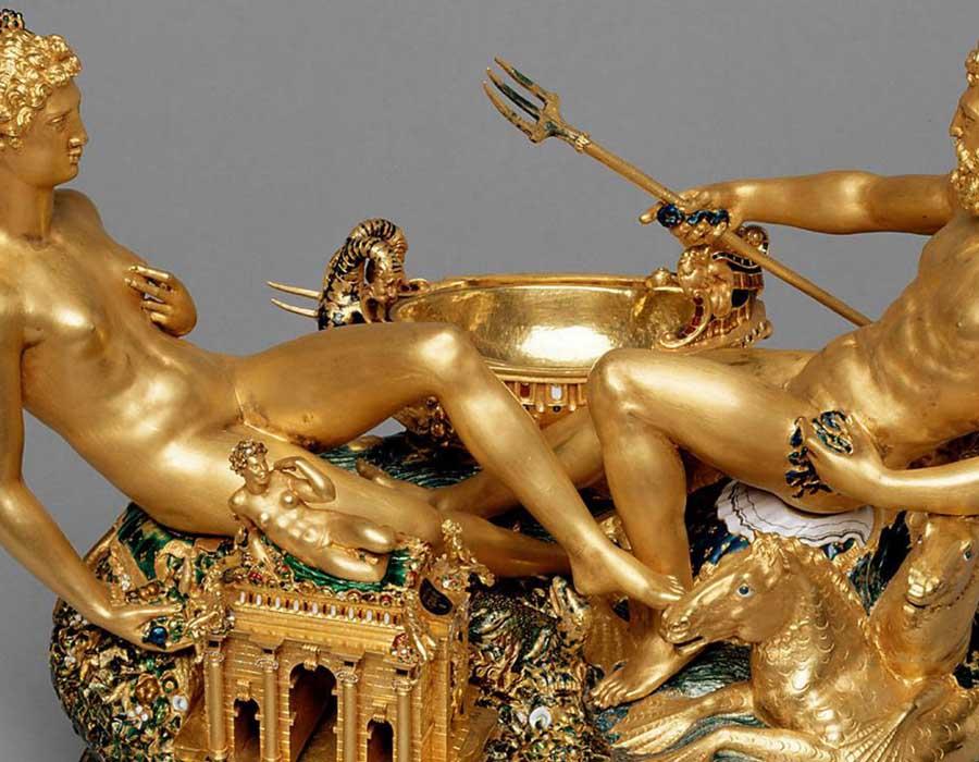 Benvenuto CELLINI (1500-1571) DETALHE. Saleiro, 1543. Saleiro em ouro cinzelado e esmalte, sobre base de ébano. Kunthistorisches Museum, Viena, Áustria.