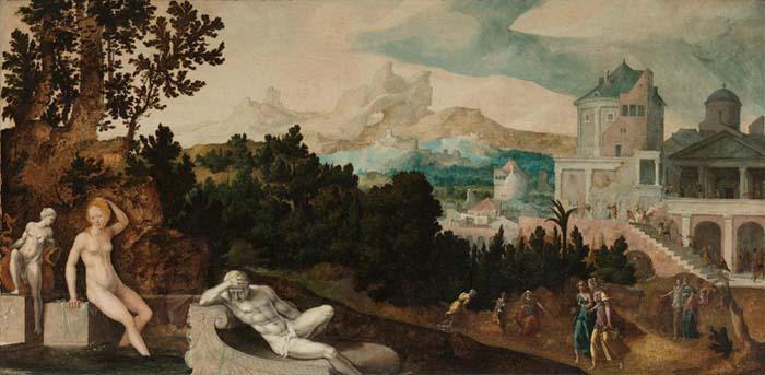 Maneirismo nos Países Baixos; Jan van SCOREL (1495-1562) Paisagem com Betsabá1, ca. 1540-1545. Óleo sobre madeira, 100,4x203,9.  Rijksmuseum, Amsterdam, Holanda.