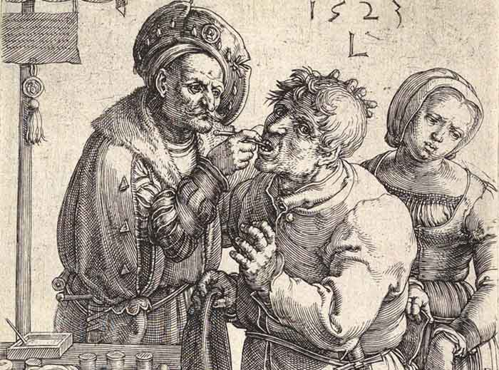 artistas dos Países Baixos; Lucas van LEYDEN (ca. 1489/1494-1533) DETALHE: O dentista, 1523. Gravura,11.7x7.5. The Metropolitan Museum of Art,