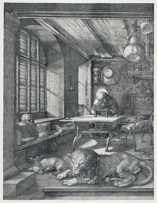 Albrecht DÜRER (1471-1528) São Jerônimo1 em sua cela conventual, 1514. Calcogravura. Gravura sobre papel, 24,4x18,7. Bartsch 60. Rijksmuseum, Amsterdam, Holanda.