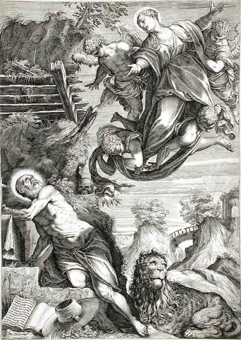 Maneirismo; Agostino CARRACCI (1557-1602) depois de TINTORETTO (1518-1594) A Virgem aparecendo para São Jerônimo, 1588. Gravura, 41.91×29.85. Los Angeles County Museum of Art, Los Angeles, EUA.