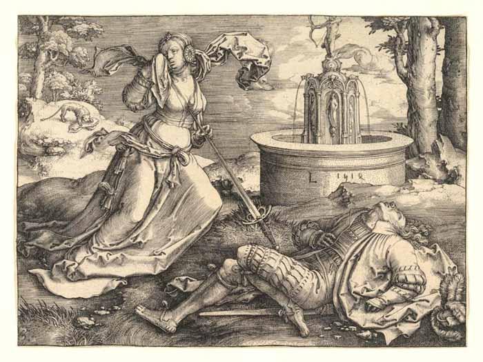 artistas dos Países Baixos; Lucas van LEYDEN (ca. 1489/1494-1533) Piramo e Tiisbe,1514. Gravura, 11.9x16. The Metropolitan Museum of Art, Nova York, EUA.