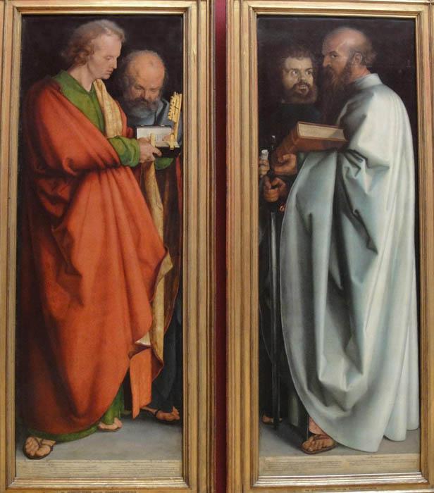 Albrecht DÜRER (1471-1528) Os Quatro Apóstolos, 1526. Óleo sobre painel, 212,4 x 76,3. Bayerische Staatsgemäldesammlungen. Alte Pinakothek, Munique, Alemanha.