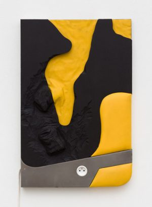 Neïl Beloufa - Cans on yellow and black, 2018