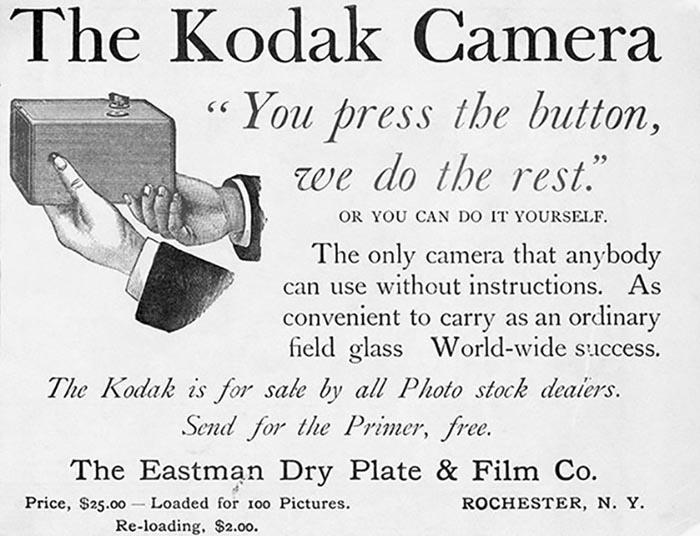 história da fotografia; Anúncio da Câmera Kodak