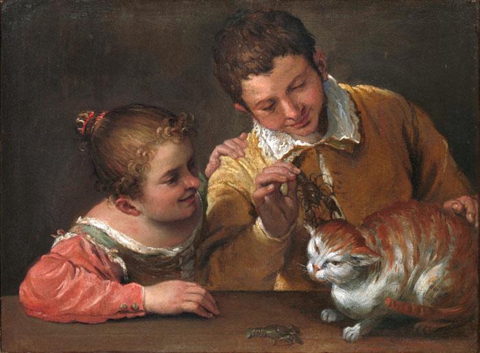barroco na itália; Annibale CARRACCI (1560-1609) Duas crianças provocando um gato. Óleo sobre tela, 66x88.9. The Metropolitan Museum of Art, Nova York, EUA.