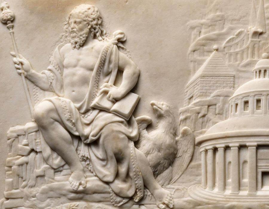 DETALHE: O Reino de Zeus, ca. 1550–70. Relevo em Mármore executado no Norte francês, 37.8x48.3x3.8. The Metropolitan Musem of Art. Nova Iorque, EUA. Disponível em: https://www.metmuseum.org/art/collection/search/208568 Acesso em: 02 set. 2019.