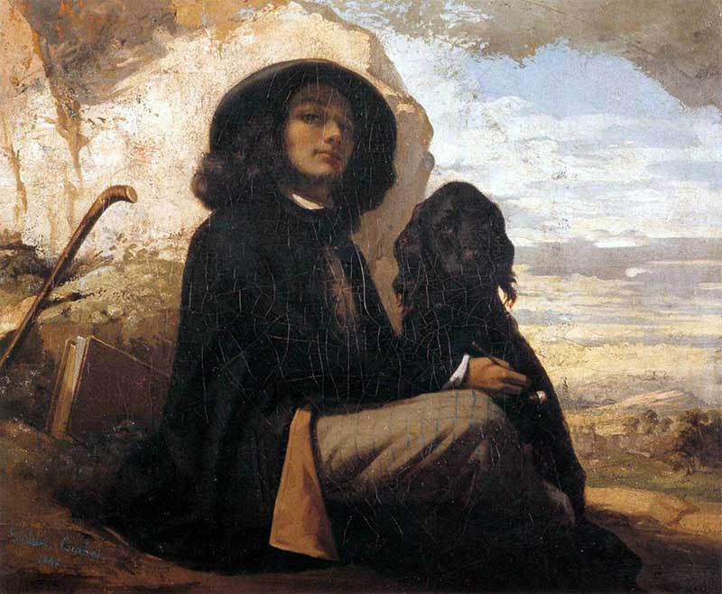 Courbet with black dog