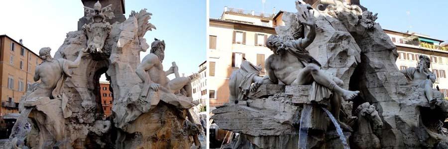 Fontana dei Quattro Fiumi. Piazza Navona, Roma, Itália.