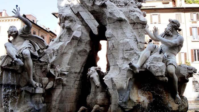 Gian Lorenzo BERNINI (1598-1680) Fontana dei Quattro Fiumi. Piazza Navona, Roma, Itália.