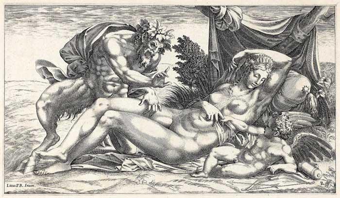 René BOYVIN (ca. 1525-1598 ou 1625/6) após Luca PENNI (1500-1557), Júpiter e Antíope, 1550/1559. Gravura, 162×286. Art Institute of Chicago, Chicago, EUA.