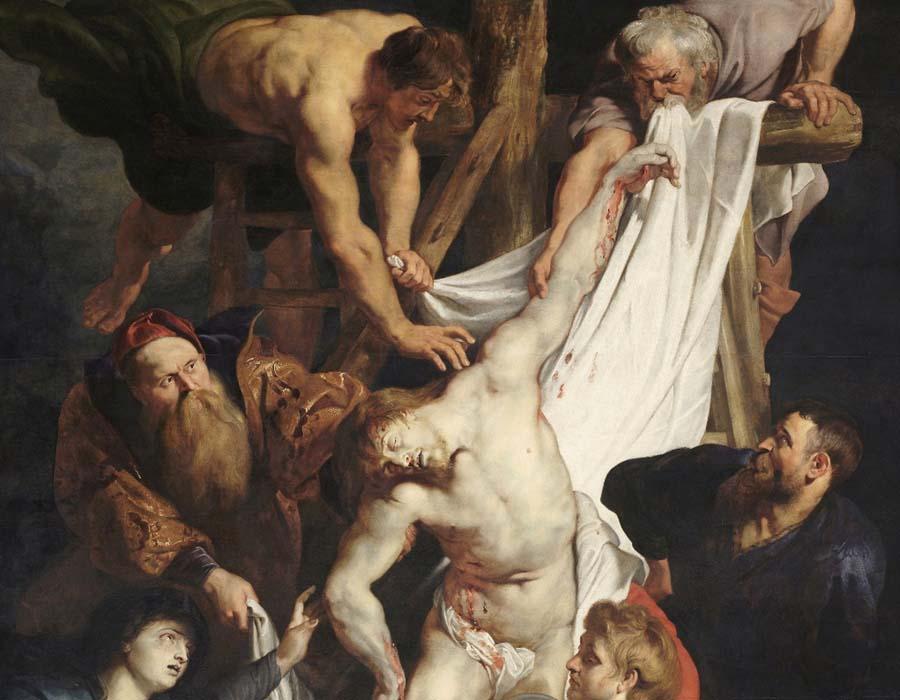 Peter Paul Rubens (1577-1640) DETALHE: Descida da cruz, ca. 1611-1614. Retábulo, Tríptico, painel central, 421x311. Onze-Lieve-Vrouwekathedraal, Antuérpia, Bélgica.