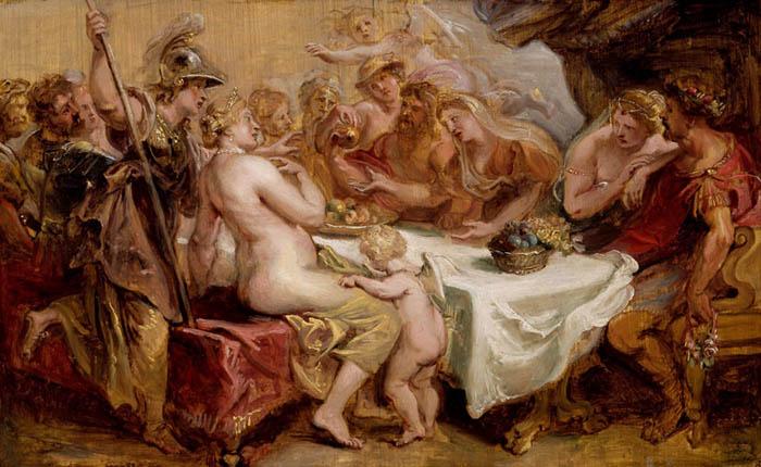Peter Paul RUBENS (1577-1640) O Casamento de Peleu e Tétis, 1636. Óleo sobre painel, 27×42.6. Art Institute Chicago, Chicago, EUA.