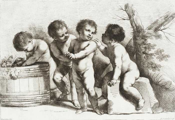 Graça e beleza no Barroco italiano; Francesco BARTOLOZZI (1727-1815) depois de Giovanni Francesco Barbieri, chamado de GUERCINO (1591-1666) Quatro Putti, ca. 1780. Gravura, giz de cera, 20.32×29.53. Los Angeles County Museum of Art, Los Angeles, EUA.