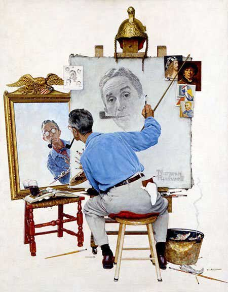 Triple-Self-Portrait-1960-Norman-Rockwell