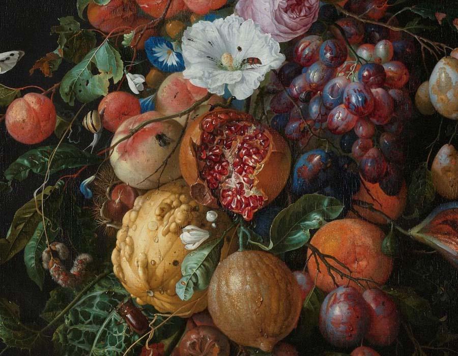 an Davidsz. DE HEEM (1606-1684) DETALHE: Festão de Frutas e Flores, 1660-1670. Óleo sobre tela, 74x60. Rijksmuseum, Amsterdam, Holanda. Disponível em: http://hdl.handle.net/10934/RM0001.COLLECT.6677 Acesso em: 16 nov. 2019.