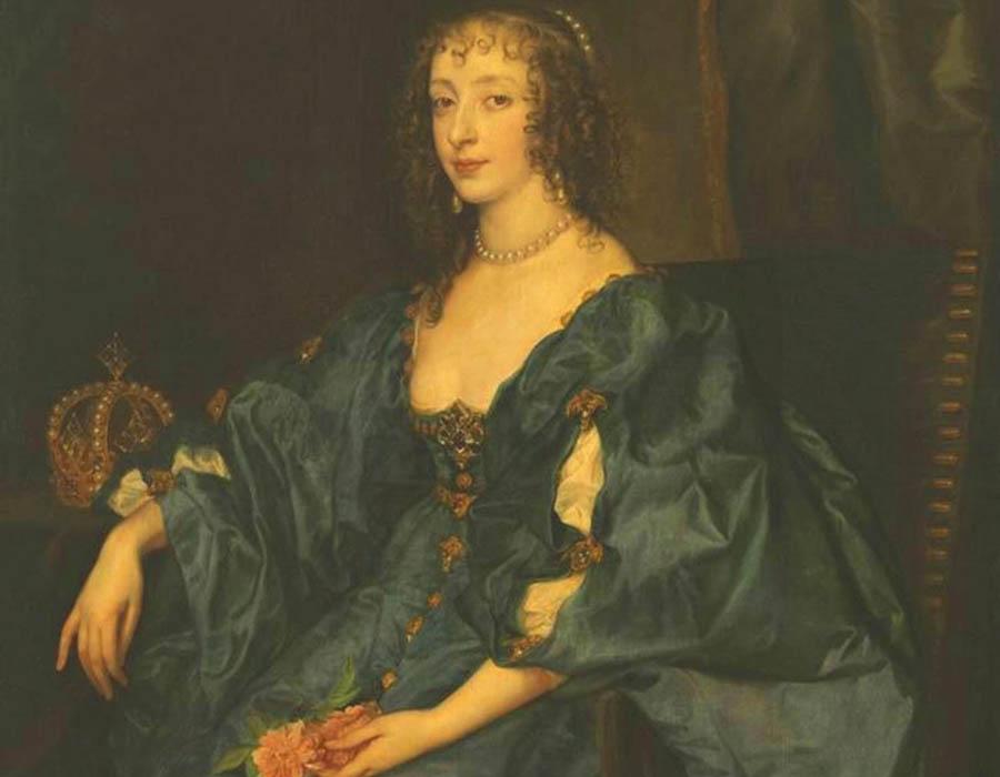 Antoon VAN DYCK (1599-1641) DETALHE: Rainha Henrietta Maria da Inglaterra, s/d. Óleo sobre tela, 119 x 98. Bayerische Staatsgemäldesammlungen - Alte Pinakothek, Munique, Alemanha. Disponível em: https://www.sammlung.pinakothek.de/en/bookmark/artwork/5RGQeJapGz Acesso em 02 nov. 2019.