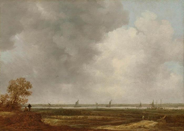 Jan van GOYEN (1596-1656) Vista panorâmico de um rio se encontrando com prados baixos, ca. 1644. Óleo sobre painel, 31.3x44.6. Rijksmuseum, Amsterdam, Holanda.