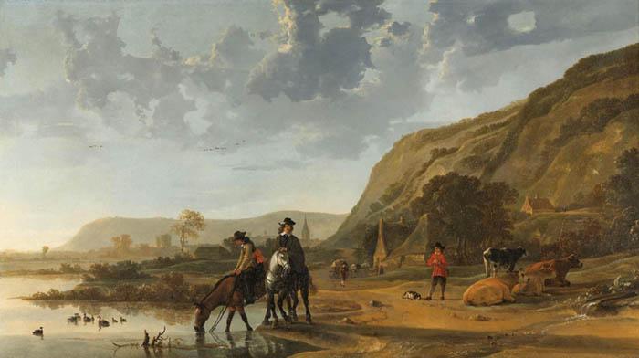 Aelbert CUYP (1620-1691) Paisagem do rio com cavaleiros, 1653-1657. Óleo sobre tela, 128x227.5. Rijksmuseum, Amsterdam, Holanda.