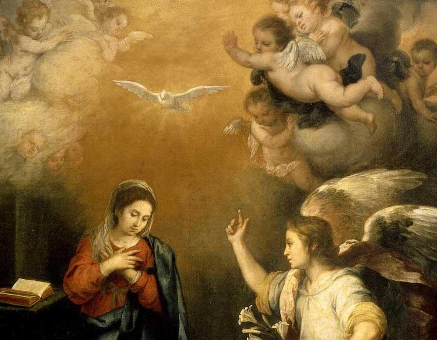Bartolomé Esteban Perez MURILLO (1618-1682) DETALHE: Anunciação da virgem, 1660-1680. Óleo sobre tela, 98x100. Rijksmuseum, Amsterdam, Holanda. Disponível em: http://hdl.handle.net/10934/RM0001.COLLECT.4672 Acesso em 07 out. 2019.