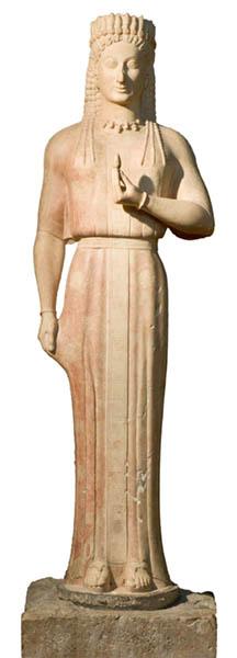A Phrasikleia Kore, uma estátua funerária grega arcaica criada no século VI aC Cortesia de Liebieghaus Skulpturensammlung
