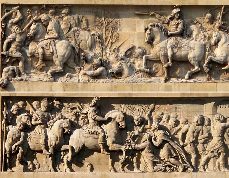 Michel ANGUIER (1612-1686) Portão de Saint-Denis1, 1672/4. Projeto arquitetônico de François Blondel. Travessia do Reno e Captura da cidade de Maastricht. Frontispícios: Lado Sul e Norte, 10º arrondissement Paris, França.