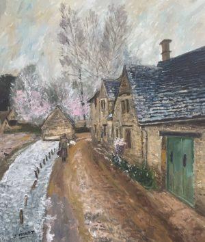 Sávio Floret. A Village street in winter - OST 60X70 cm - R$ 18.800,00