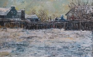 Sávio Floret. Paisagem com neve - OST 37X67 cm - R$ 6.800,00
