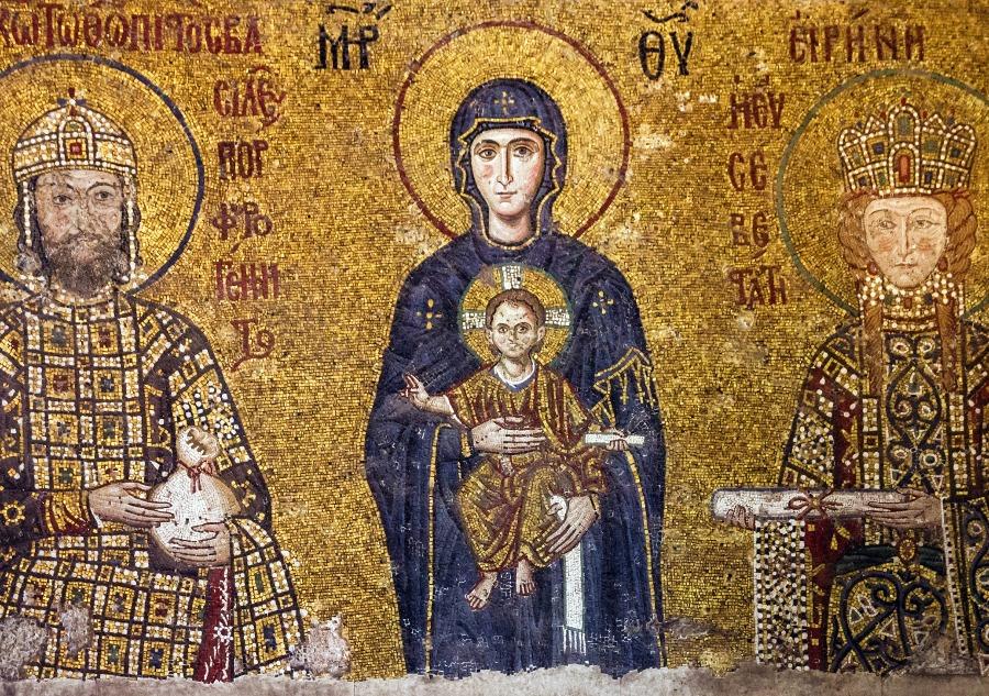 Arte medieval - Mosaico da Virgem Maria na Basílica de Santa Sofia, Istambul.
