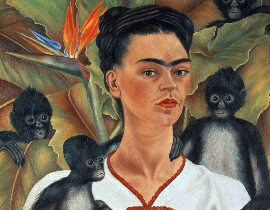 DETALHE - Frida Kahlo. Self Portrait with monkeys, 1943.