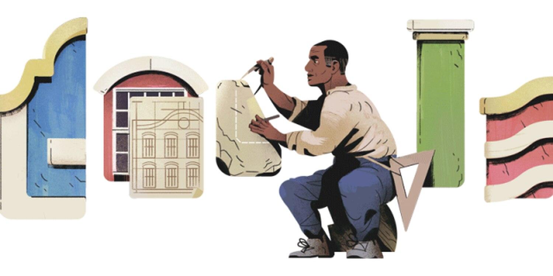 Homenagem feita pelo Google ao arquiteto brasileiro Tebas. REPRODUÇÃO GOOGLE