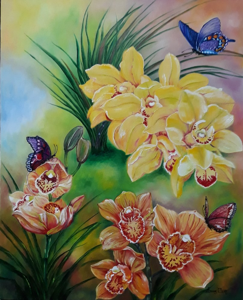 Simone Meier - Orquídeas e borboletas