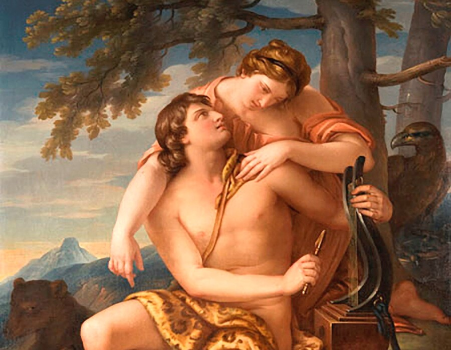 Gavin HAMILTON (1723-1798) DETALHE: Apolo e Artemis, ca. 1770. Óleo sobre tela, 170x121. Glasgow Museums Resource Centre, Glasgow, UK. Disponível em: http://collections.glasgowmuseums.com/mwebcgi/mweb?request=record;id=1044;type=101 Acesso em: 12 ago. 2021.