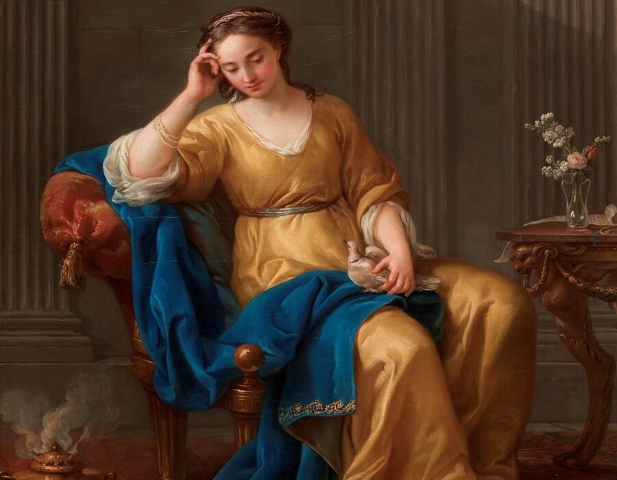 Joseph-Marie VIEN (1716-1809) DETALHE: Doce Melancolia, 1756. Óleo sobre tela, 68x55. Cleveland Museum of Art, Cleveland, Ohio, EUA. Disponível em: https://www.clevelandart.org/art/1996.1 Acesso em: 09 set. 2021.