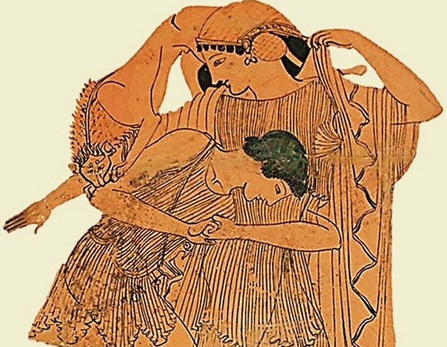 Atribuído ao Pintor DOURIS (ca. 510-460 a.C.) DETALHE: Tétis raptada per Peleu, Grécia, Sterea Hellas Evoia, Attica, ca. 490-480 a.C. Kylix , Cerâmica, Figuras vermelhas, 11,8x39,8x32,2. Borda com meandro duplo. Médailles et Antiques de la Bibliothèque nationale de France, Paris, França. Disponível em: http://medaillesetantiques.bnf.fr/ws/catalogue/app/report/index.html Acesso em: 20 set. 2021